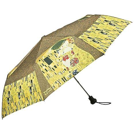 VON LILIENFELD Paraguas de bolsillo mujer moda automática motivo del arte Gustav Klimt:El beso