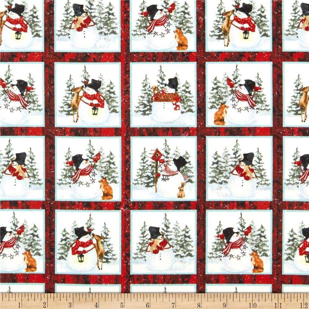 Henry Glass Snow Days Small Snowman 24in Block Panel Red Quilt Fabric