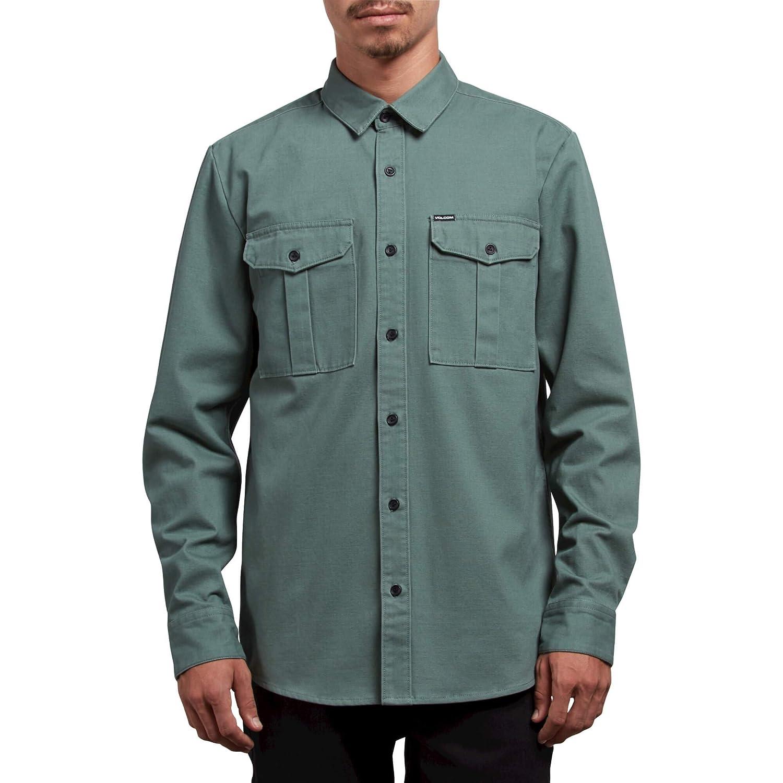 Volcom Mens Huckster Modern Fit Woven Long Sleeve Button Up Shirt