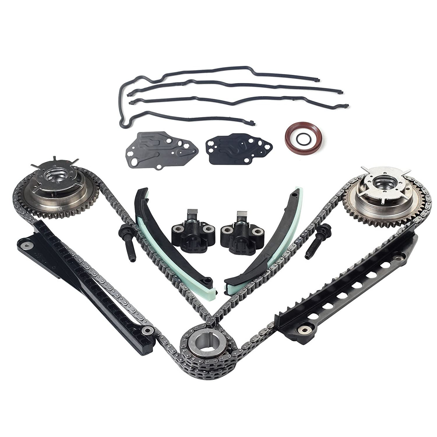 Timing Chain Kit Cam Phaser Timing Cover Gasket Seal Set for 05-13 Ford 5.4L (3-Valve) Engine Expedition F-150 F-250 & F-350 Super / Lincoln blackhorseracing
