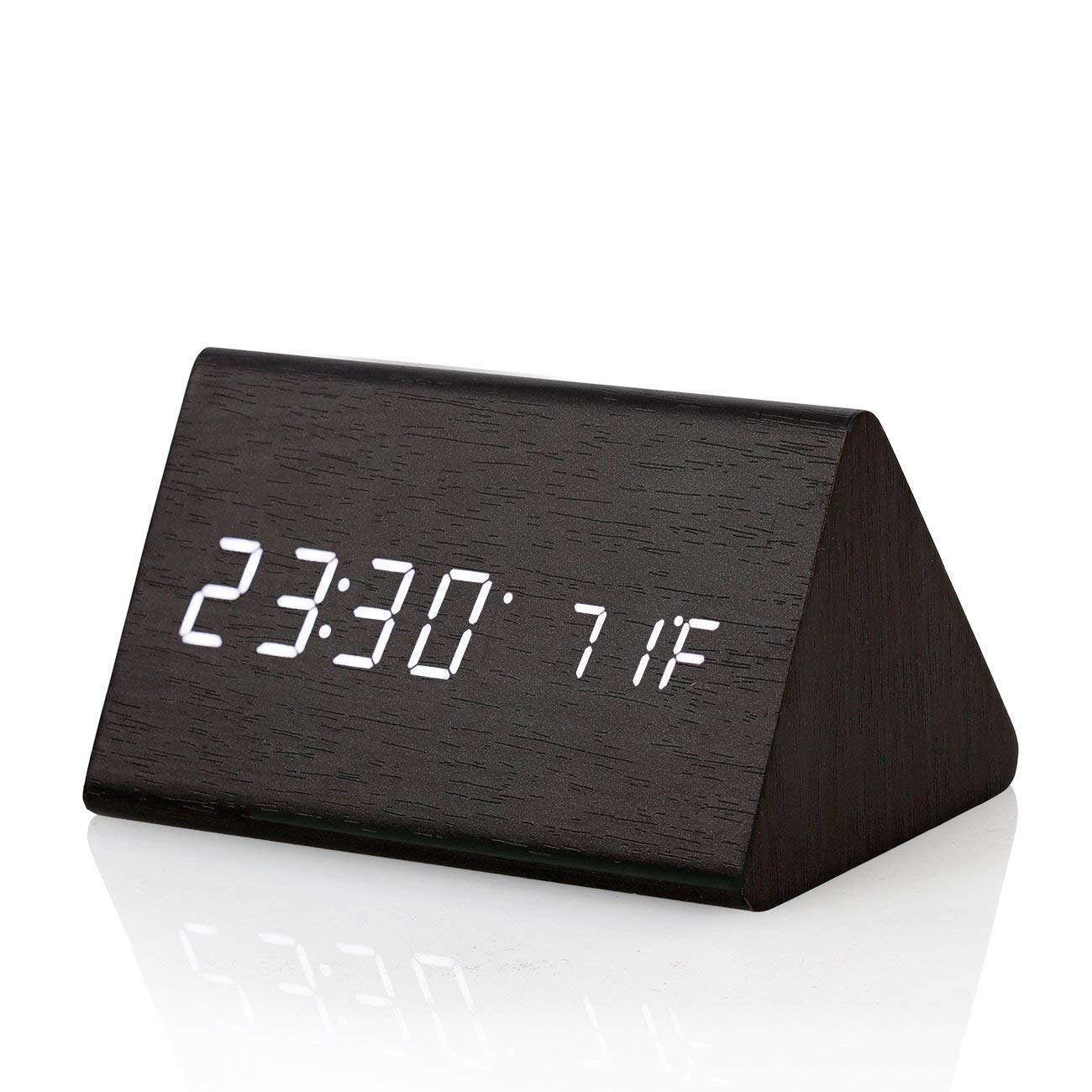 CORTEGE Digital Alarm Clock Wooden LED Light Clock with Time and Temperature Display Triangle for Home Bedroom Office Desk Travel Kids Heavy Sleepers by CORTEGE