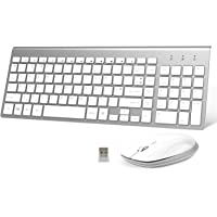 FENIFOX Wireless Keyboard and Mouse,2.4G USB Slim QWERTY UK Compact Quiet Ergonomic,For Computer PC Laptop TV Tablet Windows mac imac,Silver White