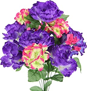 Admired By Nature GPB7320-PUR 12 Stems Artificial Full Blooming Flowers, Purple Mix