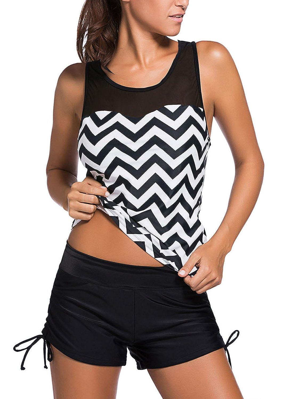 世紀Star Tribal Printedタンキニスポーツ水着withボーイショーツビキニセットPin Up Bathsuitの女性Teens B071XTK421 S (US Size 2-6)|Black White Wave Black White Wave S (US Size 2-6)