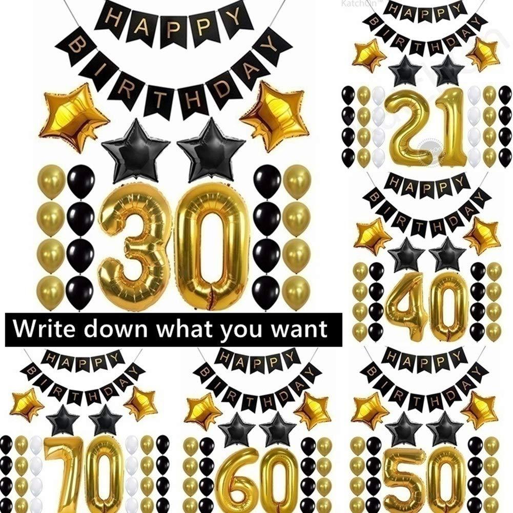 Kit de décorations de fête d'anniversaire Warring States® - 101,6 cm - Décoration Happy Birthday - Membrane en aluminium - Ballons de fête d'anniversaire 30