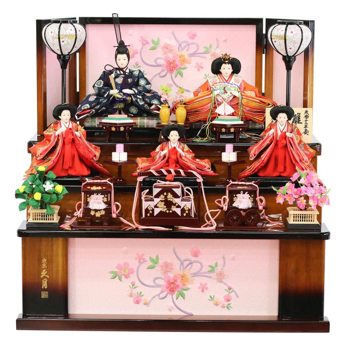 雛人形 久月 収納三段飾り 小三五親王 五人飾り HNQ-S-31237M 人形の久月   B07MFV3L6V