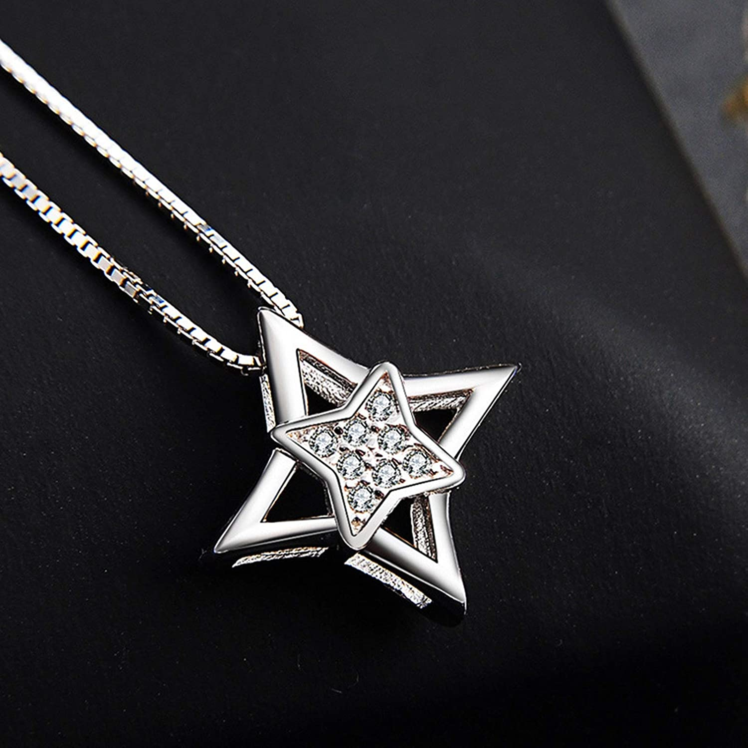Silver Gnzoe Jewelry Sterling Silver .925 Star Pendant Necklace for Women