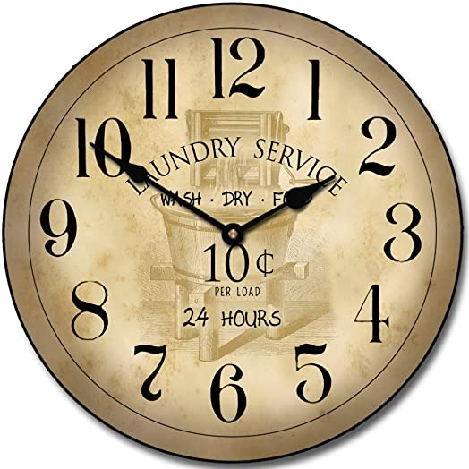 Vintage Laundry Room Wall Clock, Available in 8 Sizes, Most Sizes Ship The Next Business Day,