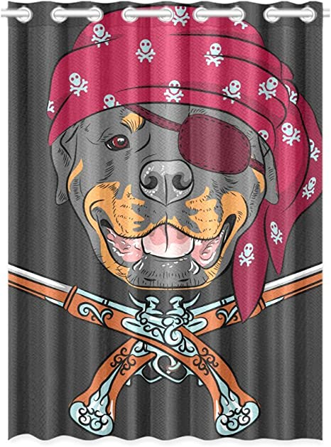 Amazon Com Interestprint Blackout Window Curtain Cute Dog Rottweiler Pirate Room Bedroom Kitchen Home Living Solid Grommet Window Drapes Curtain 52x72 Inch Home Kitchen