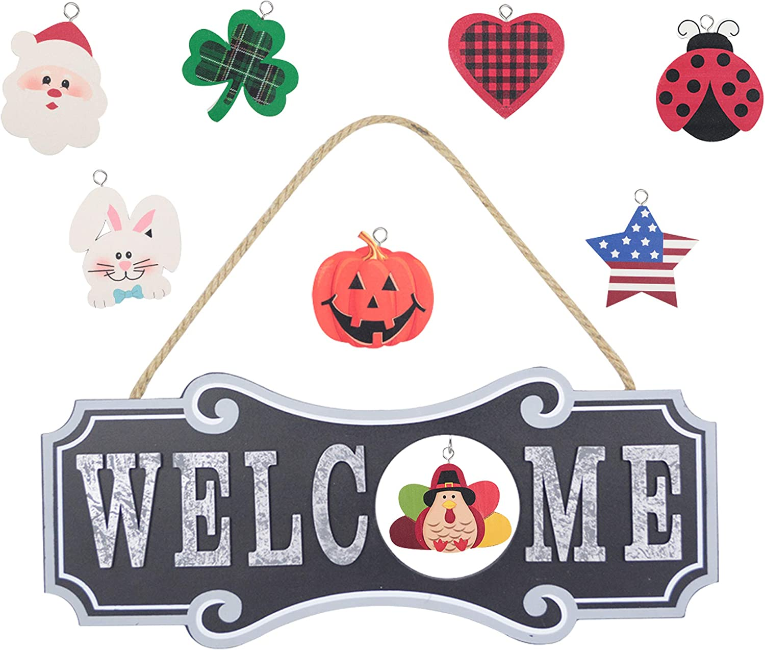 YEASL Seasonal Welcome Sign for Front Door Decor -Black 8pcs Wall Hanging Plaque Decoration for Pumpkin, Christmas,Thanksgiving,Halloween,Easter,Valentines,America July 4th
