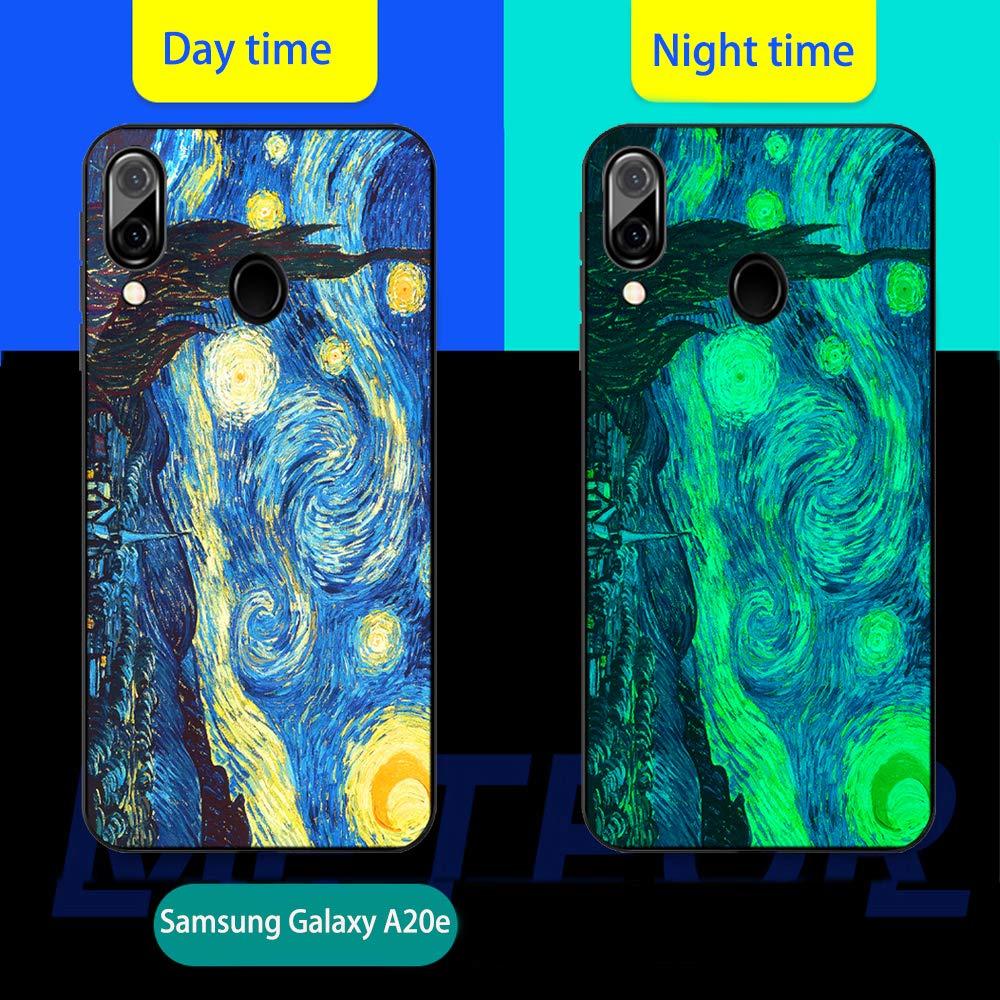 Carcasa con Dibujo Dise/ño Silicona TPU y PC Trasera Cristal Proteccion Antigolpes Noctilucent Fluorescente Caja Mariposa Azul Luminosa Funda para Samsung Galaxy A20e 2019 Funda Samsung Galaxy A20e