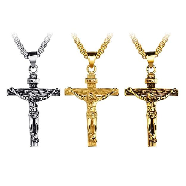 UM Bijoux catholique Jésus Christ sur INRI Pendentif croix Acier inoxydable  Crucifix Collier 55cm  Amazon.fr  Bijoux 4591894492a8