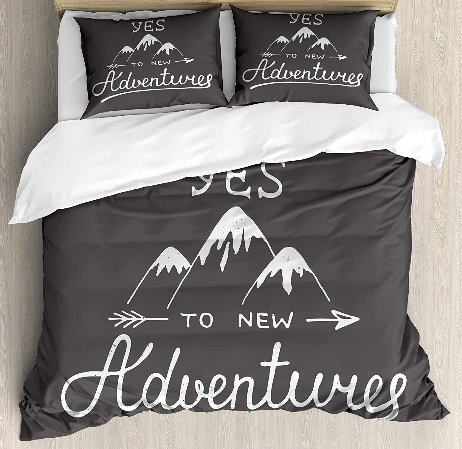 Ambesonne Adventure Duvet Cover Set, Say Yes to New Adventures Typographic Words with Scribble Mountains, Decorative 3 Piece Bedding Set with 2 Pillow Shams, Queen Size, Charcoal Grey