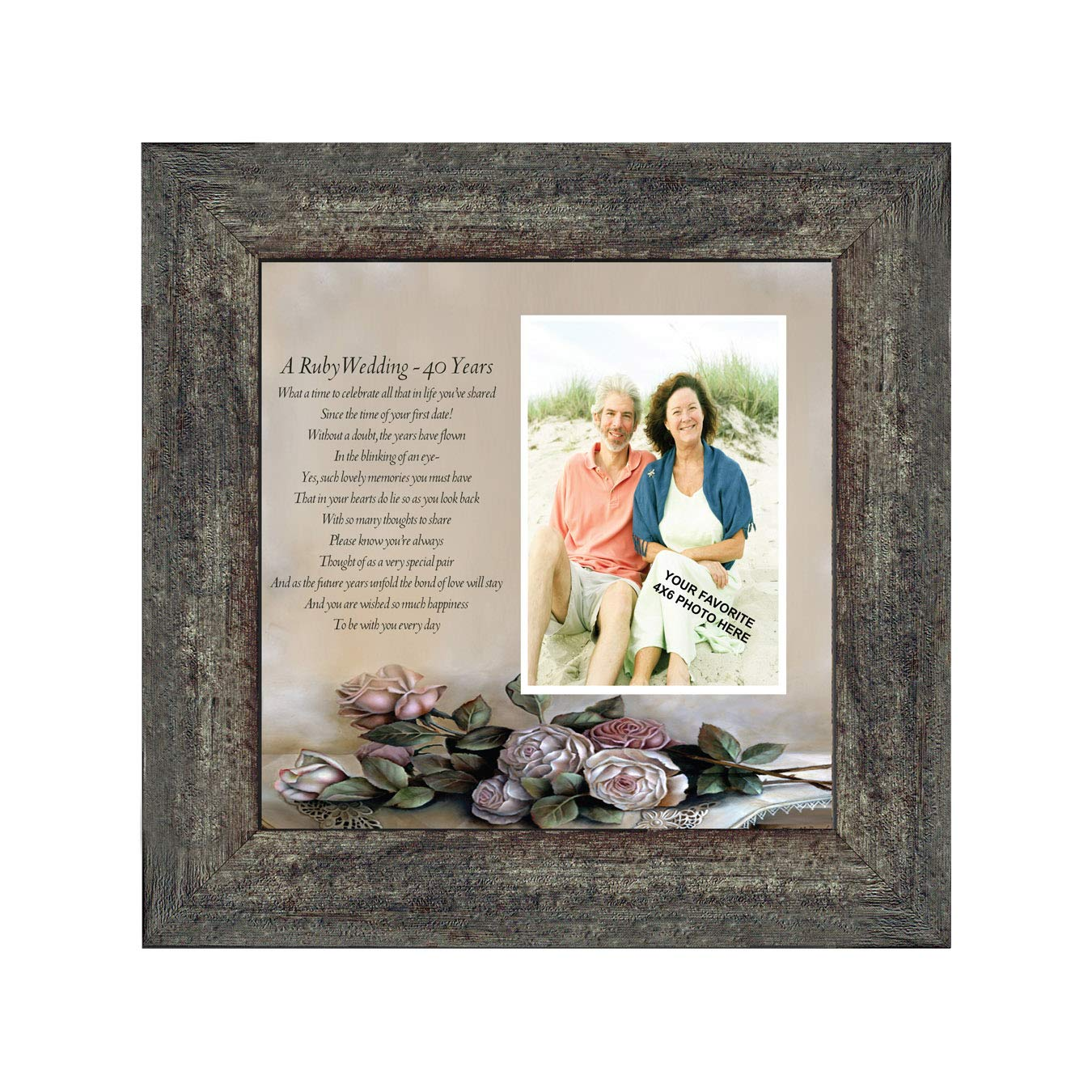 Personalized Ruby Wedding Anniversary Picture Frame 40th Wedding Anniversary 10x10 6307B BOL Productions 6776 Ruby Anniversary