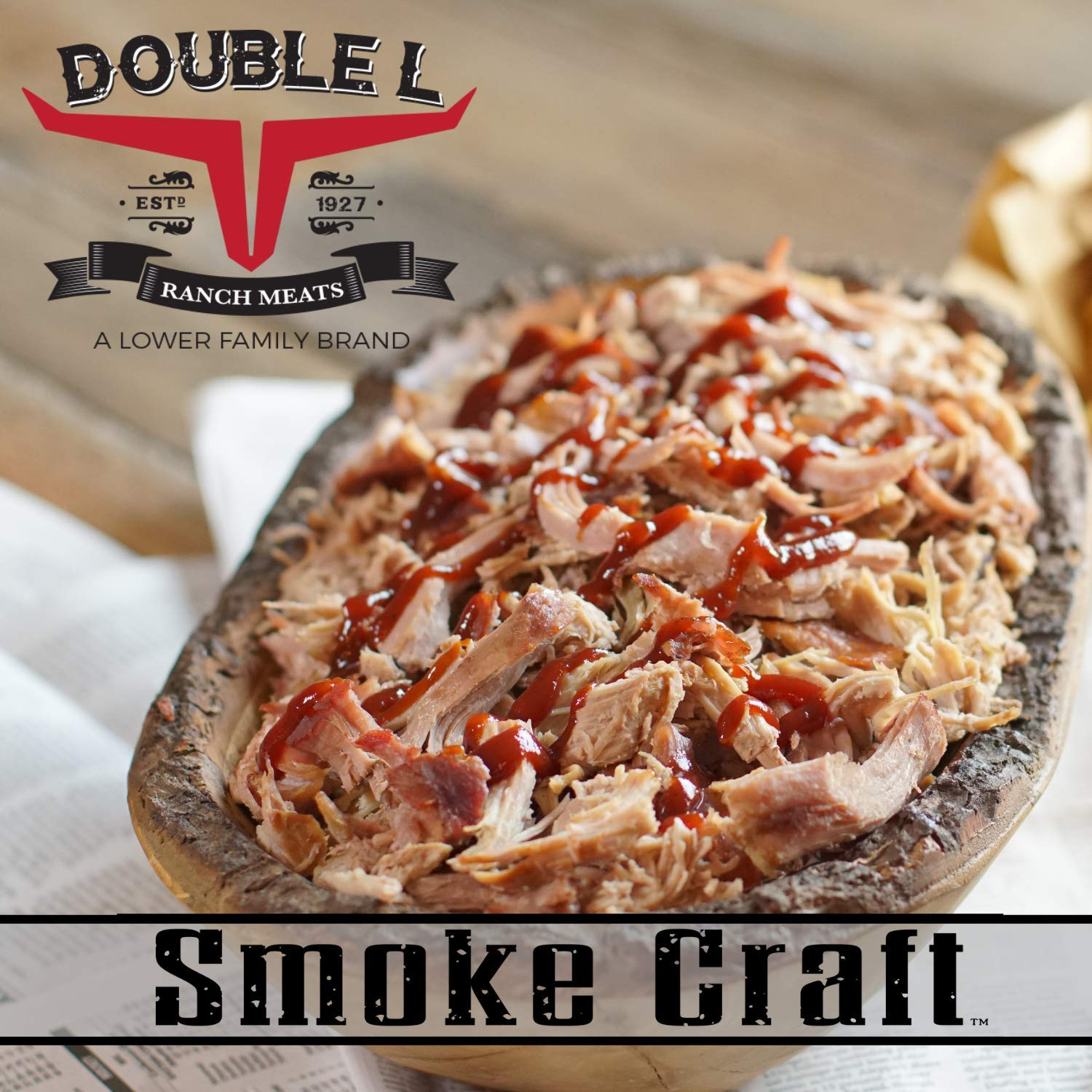 Pulled Pork in Barbecue Sauce by Double L Ranch Meats | Hickory Smoked and Shredded | Ready to Serve | 10 Lbs (2 Pack)