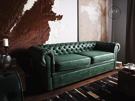 Salotto Moderno Verde : Beliani divano posti design vintage in pelle verde moderno da
