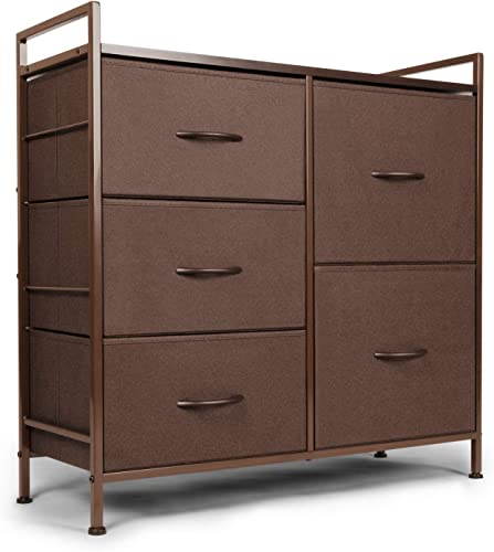 Casaottima Dresser with 5 drawers, Fabric storage Tower, Organizer Unit for Bedroom, Chest for Hallway, Closet. Steel frame and Wood Top, Brown