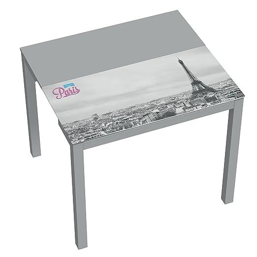 LIQUIDATODO ® - Mesa de cocina extensible moderna y barata con estructura  en gris y serigrafia Paris