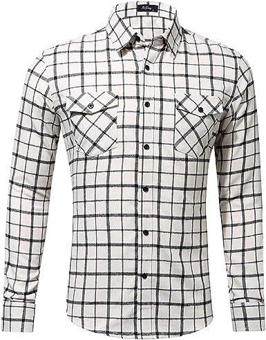 Internet-Camisa a Cuadros de Colores para Hombres, tamaños Europeos y Americanos, diseño de Bolsillo único otoño e Invierno (Blanco S-2XL): Amazon.es: Ropa y accesorios