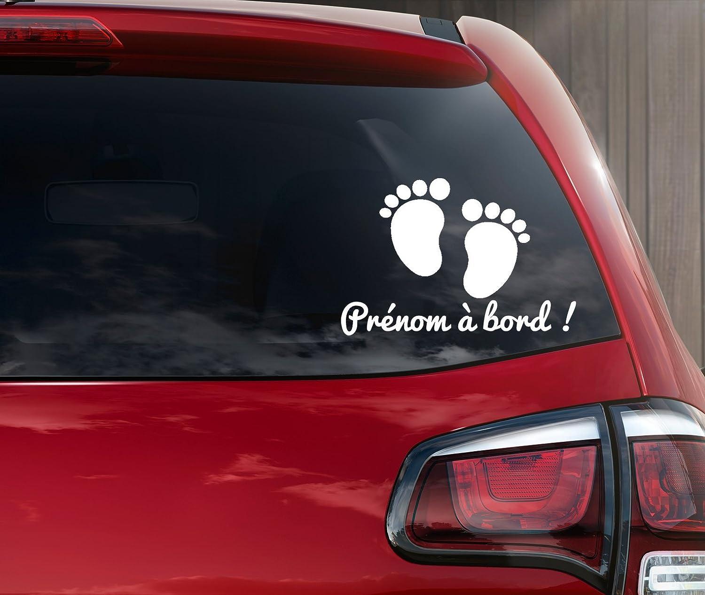 Stickers bébé à bord petit pied personnalisable en ligne avec un prénom kdosublim