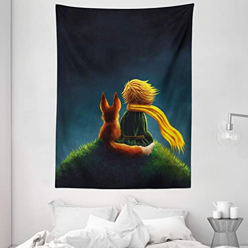 Ambesonne Fantasy Tapestry, Children Design Little Prince and The Fox Looking at The Sky Pattern, Wall Hanging for Bedroom Living Room Dorm, 60 X 80 , Fern Green