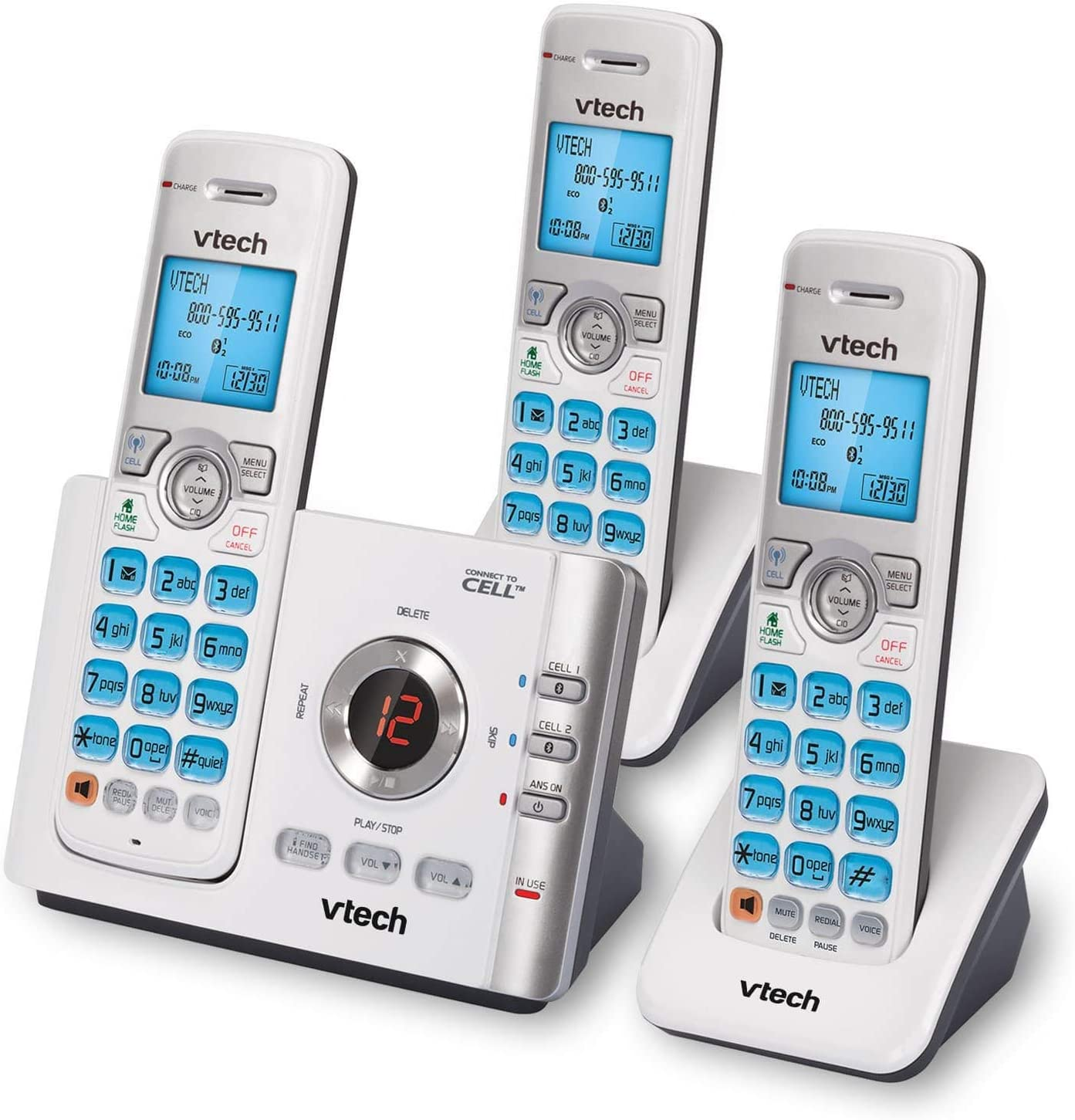 Vtech Cordless Phone with 3 Handset and Answering System, Caller ID, Call Waiting and Connect to Cell