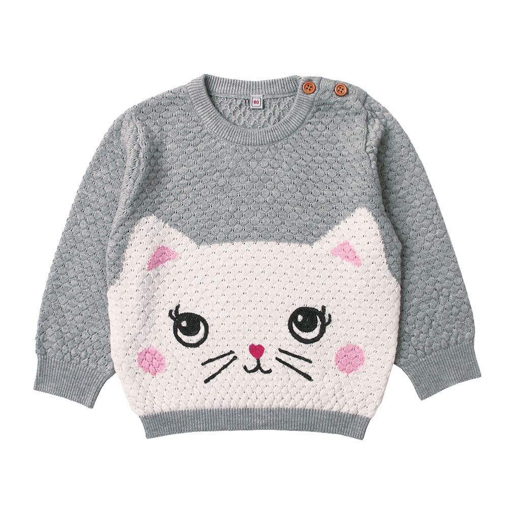 Newborn Infant Baby Boys Girls Long Sleeve Cartoon Cat Knitted Tops Clothes (12 Month, Gray)