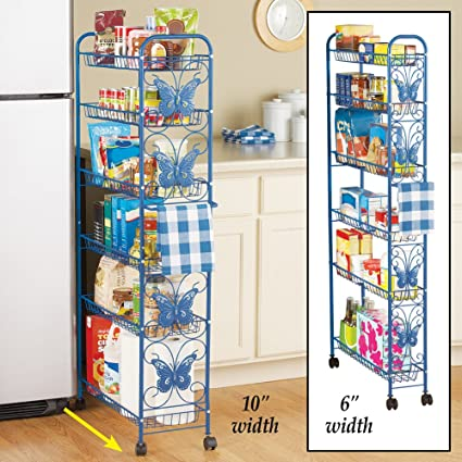 Amazon Com Collections Etc Metal Butterfly 6 Shelf Rolling Kitchen
