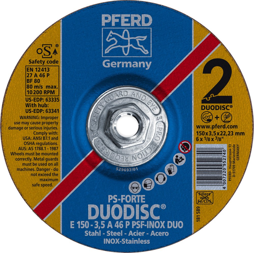 PFERD 63341 Duodisc Combination Cutting/Grinding Wheel, Type 27, Aluminum Oxide A, 6'' Diameter x 1/8'' Thick, 5/8-11'' Thread, 10200 Max RPM (Pack of 10) by Pferd