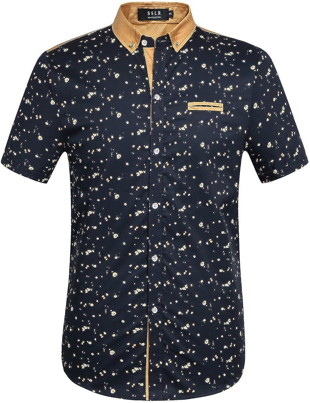 SSLR Men's Printing Pattern Button Down Casual Short Sleeve Shirts SN-VM-588U-CF5J