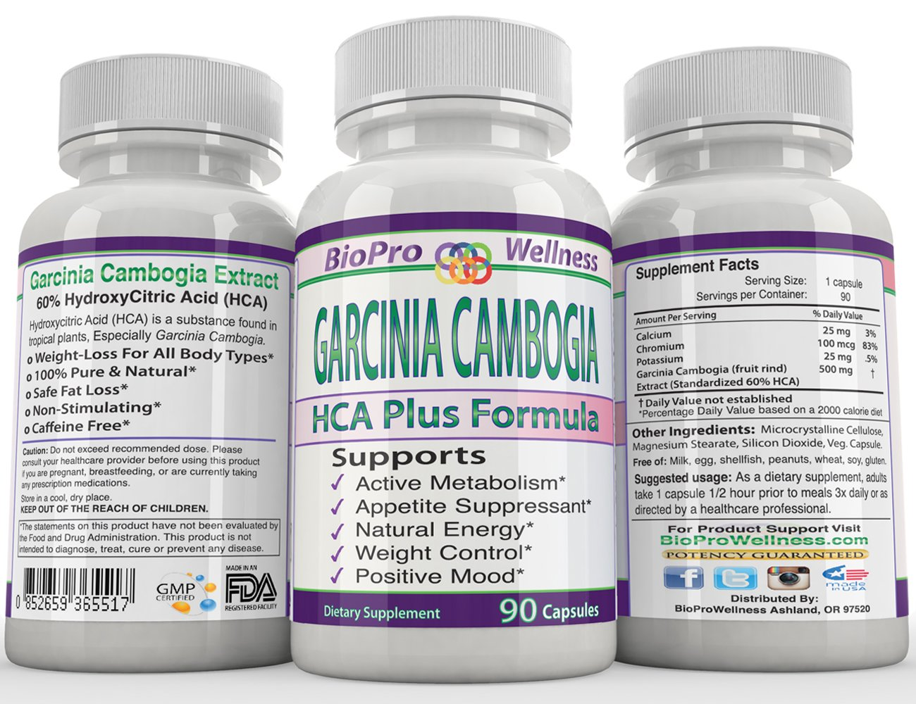 Fast Acting Fat Burner, Appetite Control, Metabolism Boost Weight Loss Management Formula, Pure Garcinia Cambogia Extract HCA 3000mg That Work for men women STRONG EXTREME Flat Belly Natural Diet Pill by BioProWellness