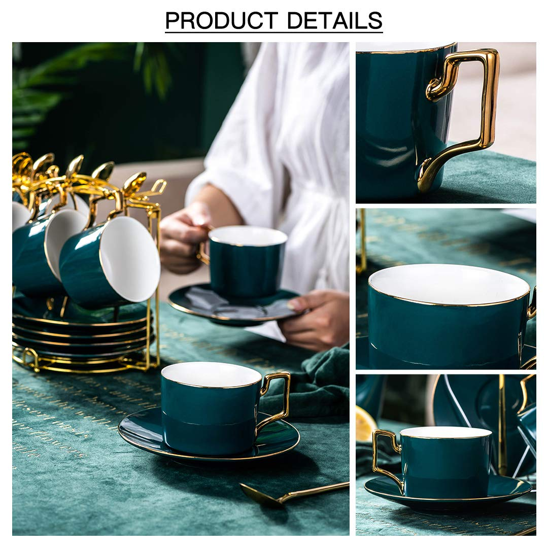 YOLIFE Tea Cup Set Ceramic Coffee Cup Set Cup Saucer Set with Display Stand Green Pack of 2