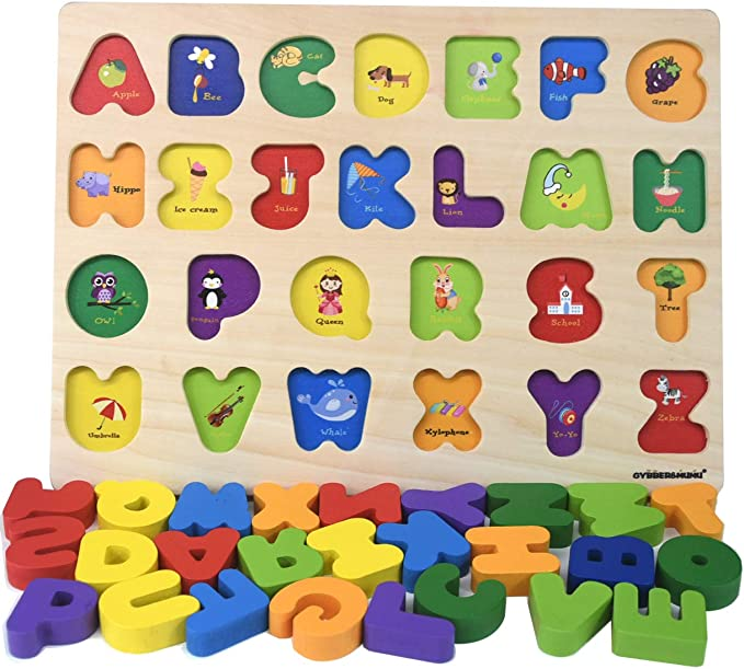 Gybber Mumu Alphabet Blocks Colorful Jigsaw Blocks Board Wood Abc Letters Puzzle Toys Games Amazon Com