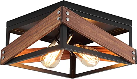 Amazon Com Rustic Industrial Flush Mount Light Fixture Two Light Metal And Wood Square Flush Mount Ceiling Light For Hallway Living Room Bedroom Kitchen Entryway Farmhouse Black Kitchen Dining