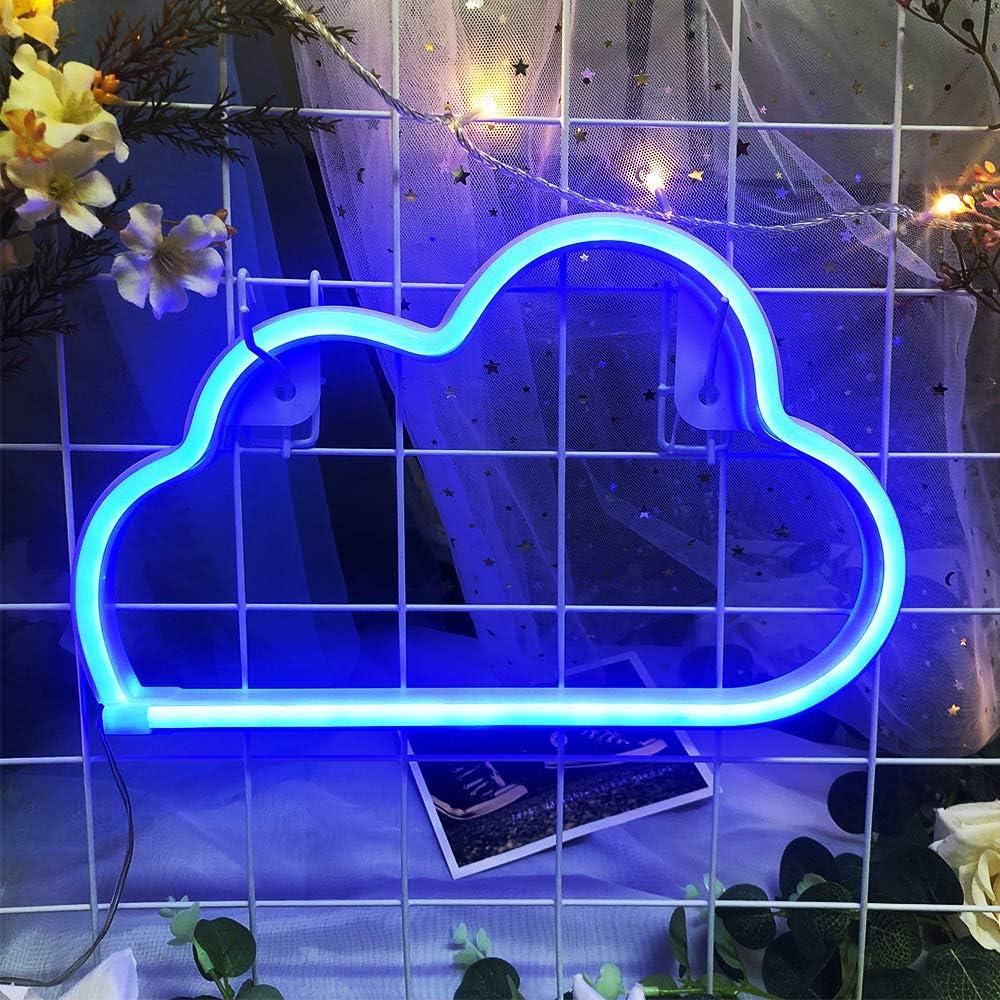 Cloud-Neonzeichen Helle Wolke Neon-Nachtlicht Wolke Shaped Neonzeichen Batterie oder USB-Powered LED Nacht Neon-Lampen Wolke Wandleuchten f/ür Kinderzimmer Schlafzimmer Weihnachten Hochzeit Dekor bla
