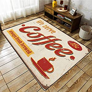 Living Room Rug,Retro,Tin Rusty Faded Fresh Brewed Coffee Print from Old Days Fifties Style Art Work,Large Area mat Cream Red Orange