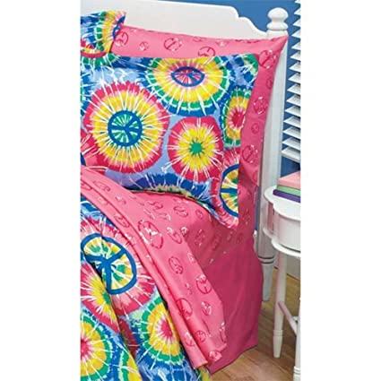 Lcl Pink PEACE Sign Twin Bed Sheet Set Sheets Girl Tween Child Teen  Microfiber