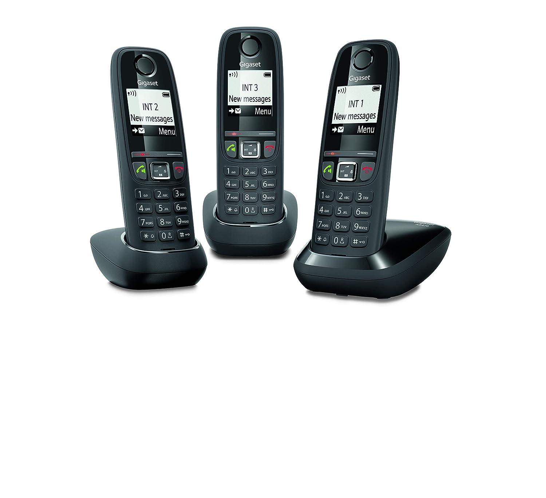 Gigaset AS470A Trio Tel/éfono Tel/éfono DECT, Terminal inal/ámbrico, Altavoz, 100 entradas, Identificador de Llamadas, Negro