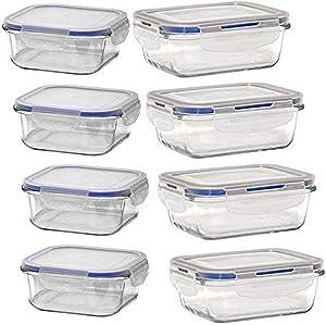 Flip n' Fresh GFS-16PC-112 Glass Food Storage-16PC Set, 12 oz