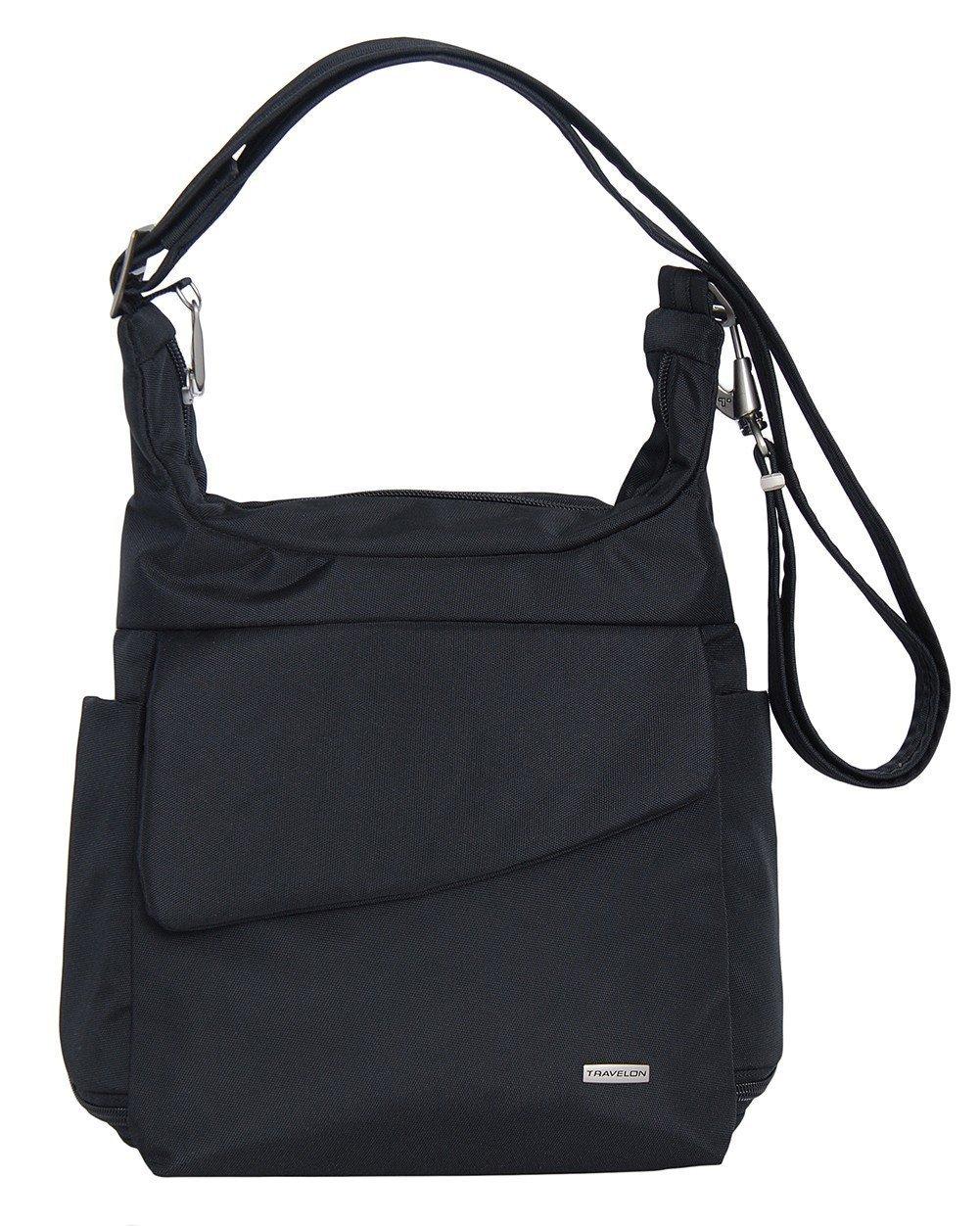 Travelon Anti-Theft Messenger Bag (BLACK W/FLORAL LINING)