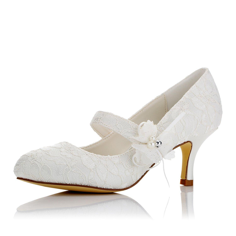 JIAJIA 586449 Women's Bridal Shoes Closed Toe Mid Heel Lace Satin Pumps Satin Flower Imitation Wedding Shoes Color Ivory,Size 9.5 B(M) US/41 EU