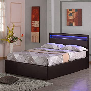 TOKYO LED LIGHT HEADBOARD 4FT 6IN FAUX LEATHER OTTOMAN STORAGE BED W GAS  LIFT BASE