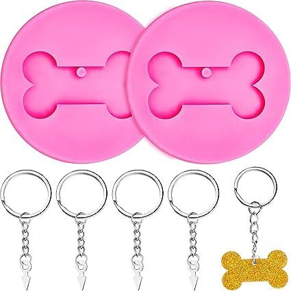 Small Dog Bone Silicone Keychain Mold,Dog Tag Silicone Key Chain Mold,Mini Dog Bone Resin Mold,Dog Bone Mold for Resin,Polymer Clay