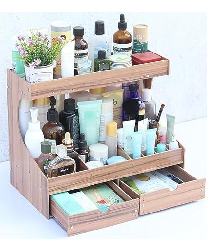 Regalo del Día de la Madre Caja de almacenamiento de cosméticos De madera Caja de almacenamiento de escritorio Cajas de acabado cosmético Caja de ...