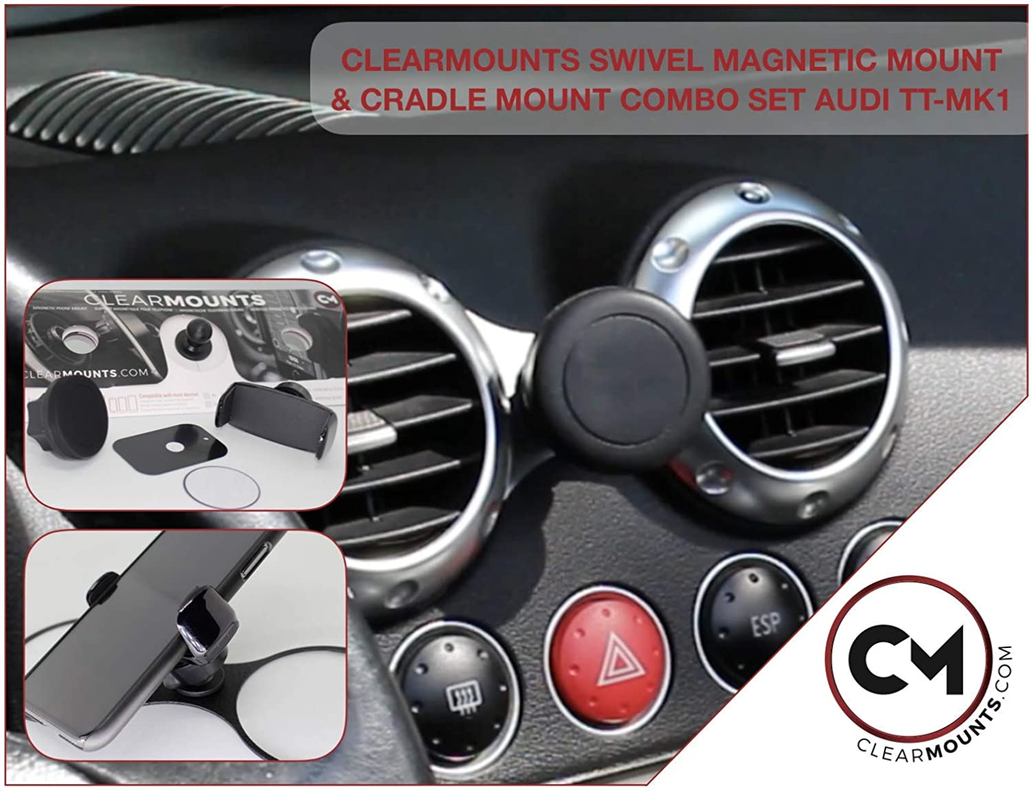 CLEARMOUNTS Audi Phone Holder 360 Degree Swivel Magnetic Mounts /& Cradle Mount Combo 2015-2020 Audi TT Designed for
