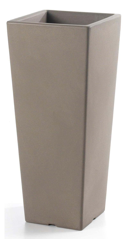 Pflanztopf Chieti quadratisch 40 x 40 cm x 100 cm hoch, taupe