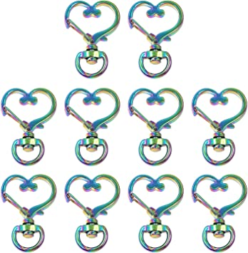 Light Golden Snap hook 10pcs 1 38 Small Heart Swivel Clasp Lobster Clasp Charming Purse Making Supplies Metal Purse Notions
