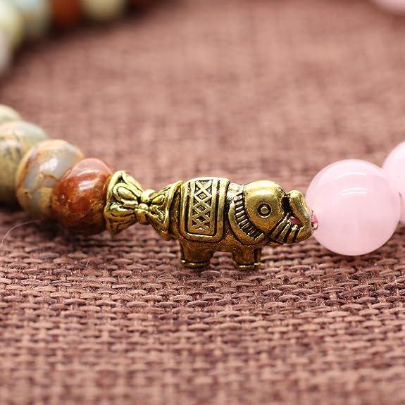 COAI® Rose Quartz and Variscite Energy Bracelet Yoga Mala Reiki Healing Bracelet BcPX4aE0