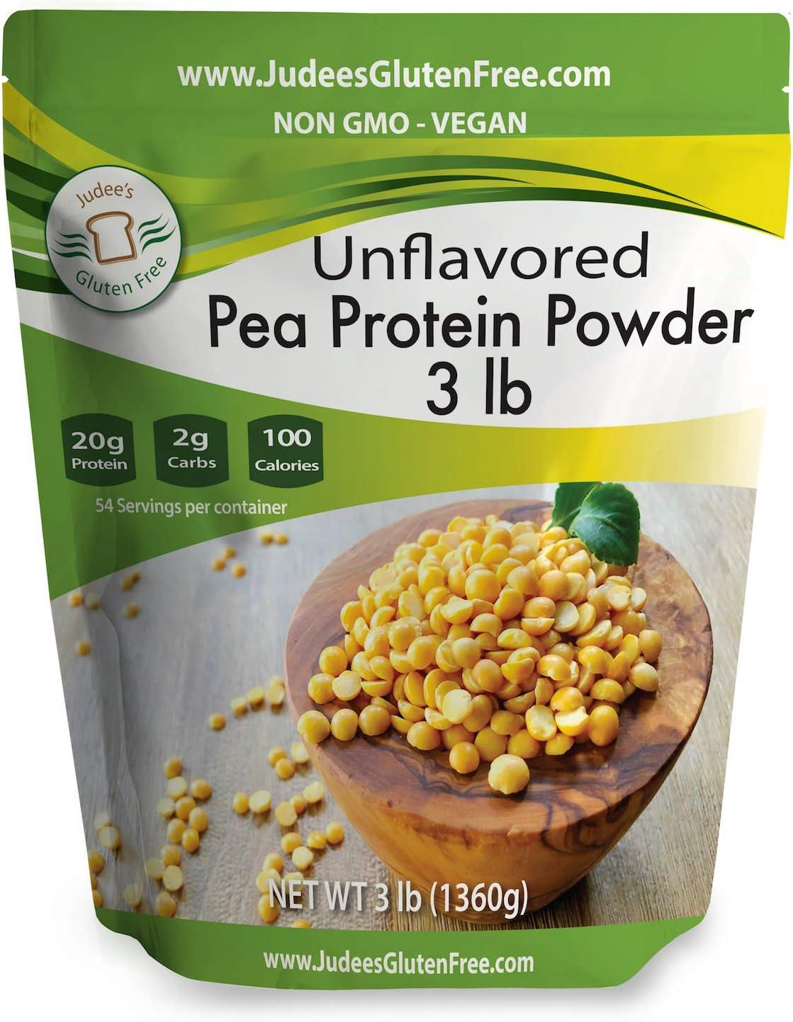 Pea Protein Powder (80% Protein) 3 lb (1.5 lb Also), Keto, Non GMO, Vegan, Dairy Free, Soy Free, Dedicated Gluten & Nut Free Facility, 20 Grams Protein/Serving
