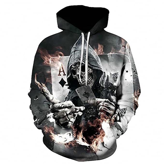 336477995 Skull Poker Hoodies Sweatshirts Men Women 3D Pullover Funny Rock Tracksuits  Hooded Male Jackets Fashion Casual